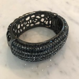 Black and grey sparkle bangle